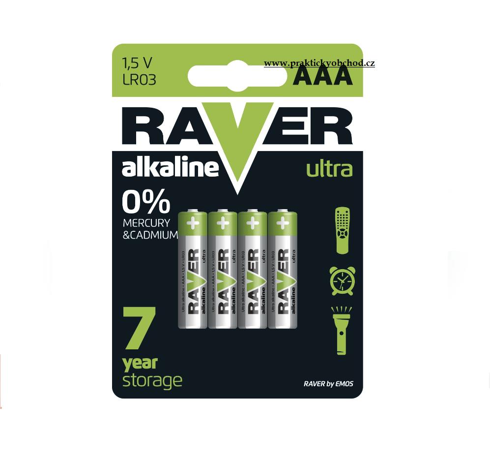 Fotografie RAVER Alkalická baterie Raver 1,5V AAA