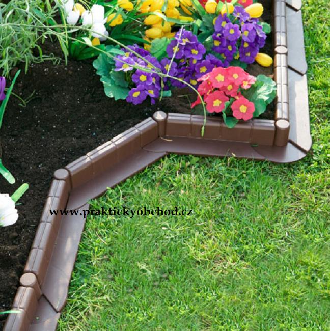 Zahradní plastový obrubník - 1m, hnědá Hnědá
