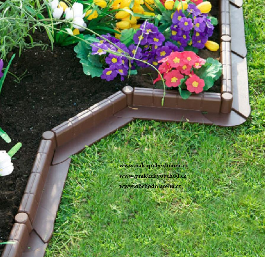 Zahradní plastový obrubník - sada 5m, hnědá Hnědá