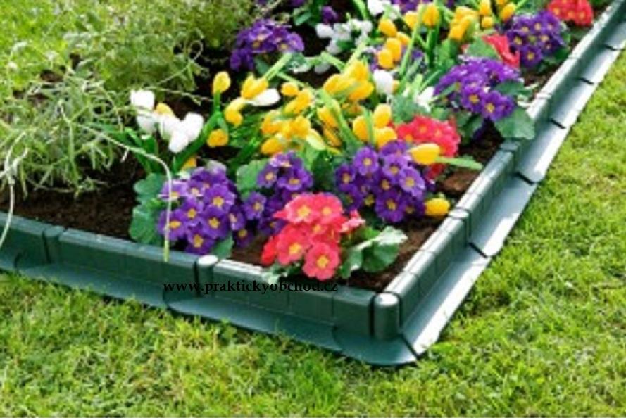 Zahradní plastový obrubník - 1m, tmavá zelená Tmavá zelená